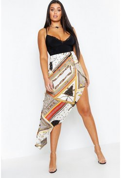 Womens Stone Plus Satin Chain Print Asymmetric Skirt