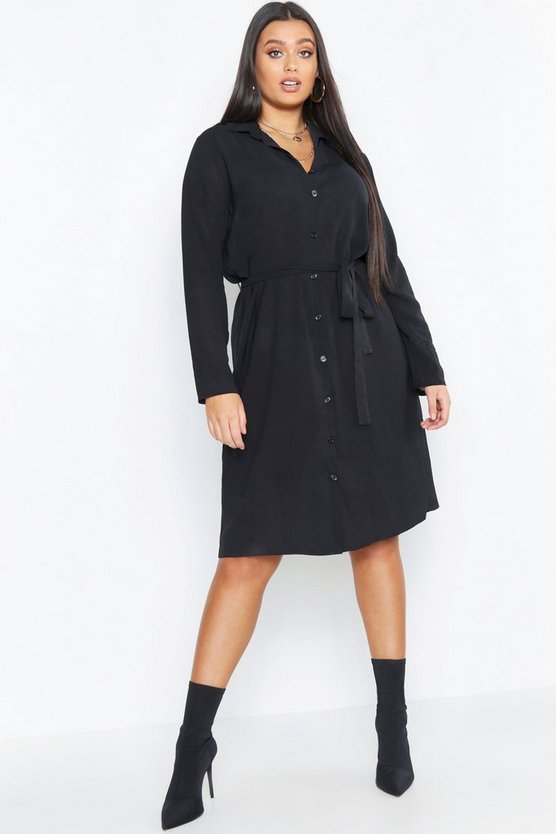 Womens Black Plus Utility Tie Belted Shirt Dress