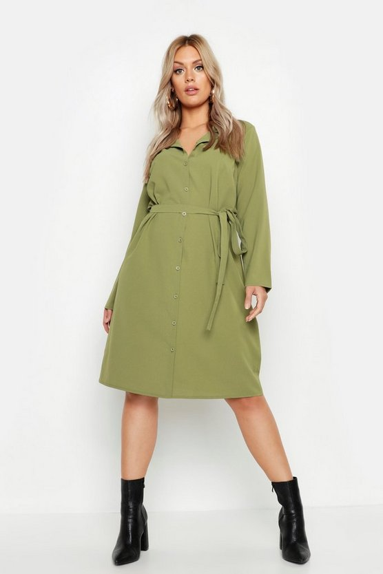 Womens Khaki Plus Utility Tie Belted Shirt Dress