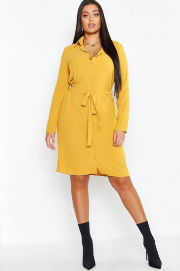 Womens Mustard Plus Utility Tie Belted Shirt Dress