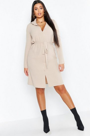 Womens Stone Plus Utility Tie Belted Shirt Dress