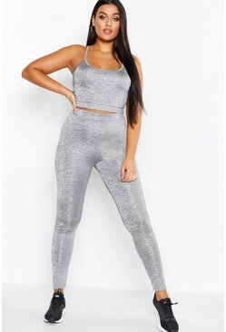 Plus Fit High-Waist Laufleggings, Silber, Damen