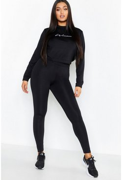 Womens Black Plus High Waisted Basic Gym Legging