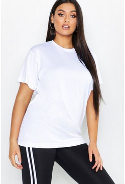 Womens White Plus Breathable Gym Oversized T-Shirt