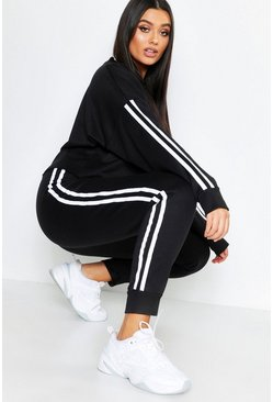Black Plus Side Stripe Sweat & Jogger Set