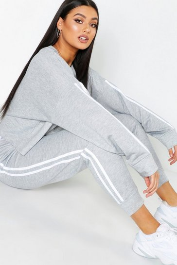 Grey Plus Side Stripe Sweat & Jogger Set
