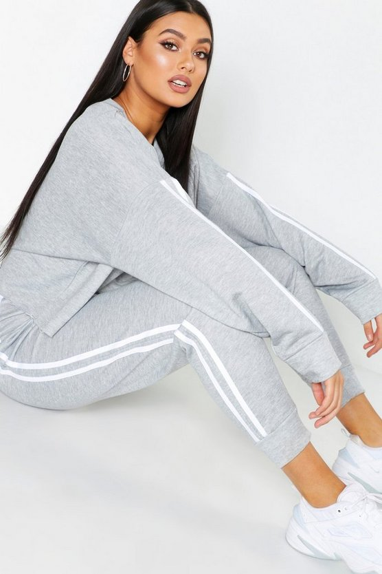 Womens Grey Plus Side Stripe Sweat & Jogger Set