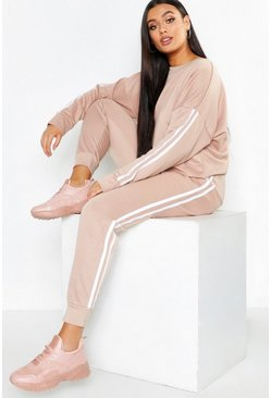 Womens Stone Plus Side Stripe Sweat & Jogger Set