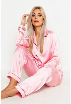 Womens Blush Plus Brides Baes Satin PJ Set