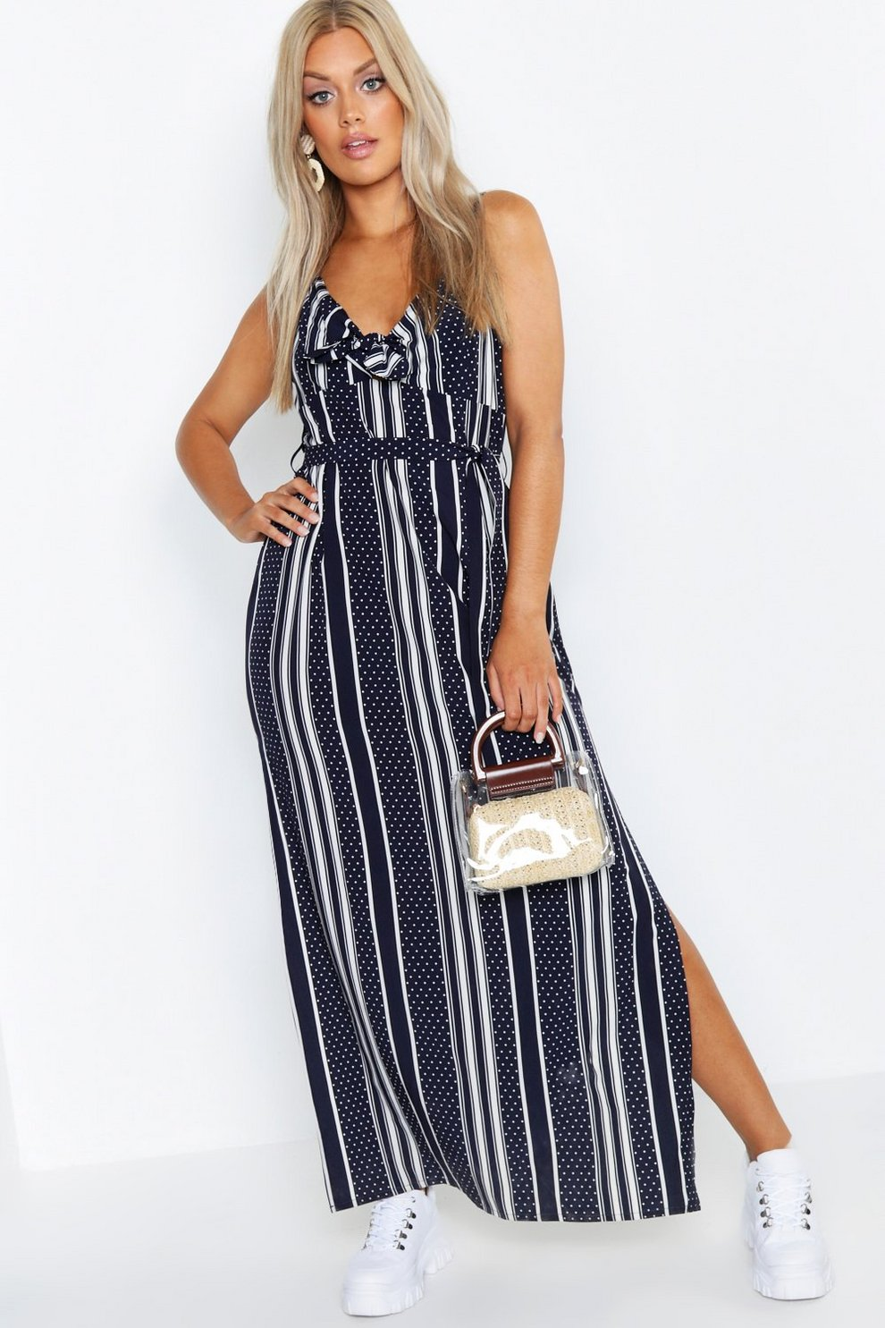 6bcf1fdbad011 Plus Woven Printed Tie Front Strappy Maxi Dress