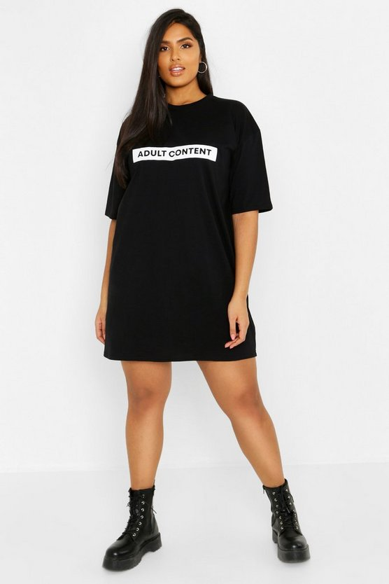 Womens Black Plus Slogan T-Shirt Dress