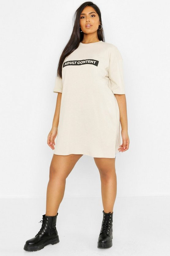 Womens Stone Plus Slogan T-Shirt Dress