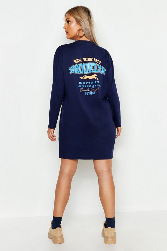 Plus Slogan Long Sleeve T-Shirt Dress