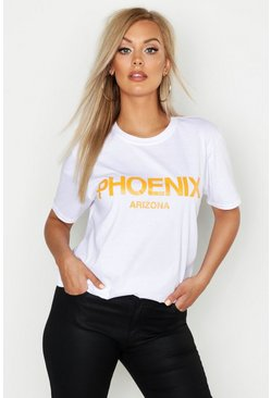 "Plus Oversized-T-Shirt mit ""Phoenix""-Slogan, Weiß"