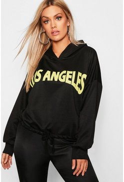 Womens Black Plus Los Angeles Oversized Hoody