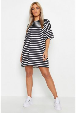 Womens Ivory Plus Stripe Oversized T-Shirt Dress