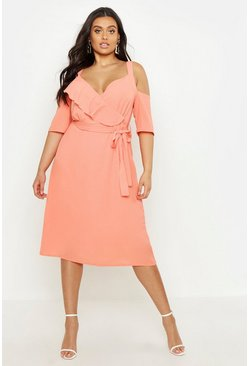 Plus Plunge Ruffle Midi Dress, Apricot, ЖЕНСКОЕ