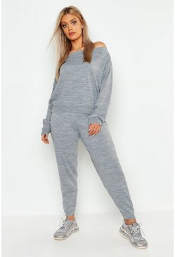 Womens Grey Plus Heavy Knitted Slash Neck Lounge Set