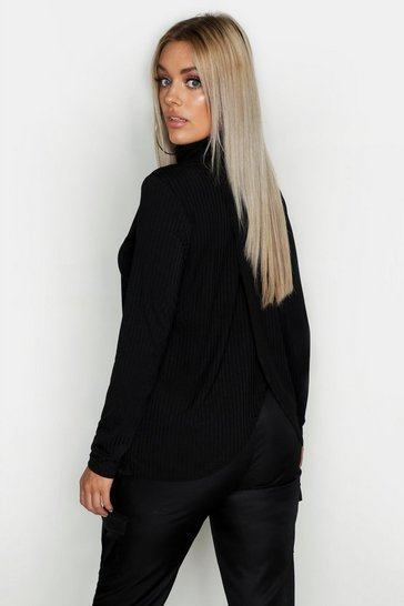 Womens Black Plus Rib Roll Neck Top