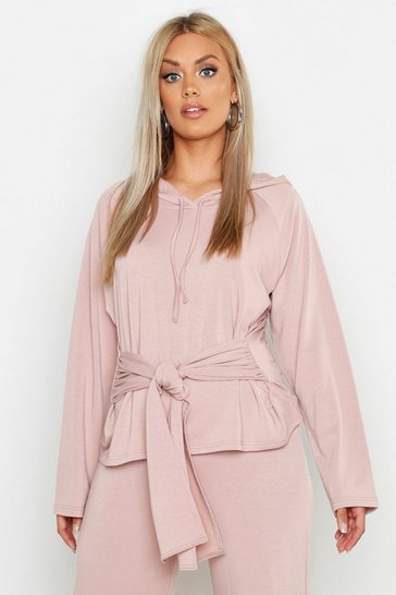Womens Dusty rose Plus Tie Front Hoody