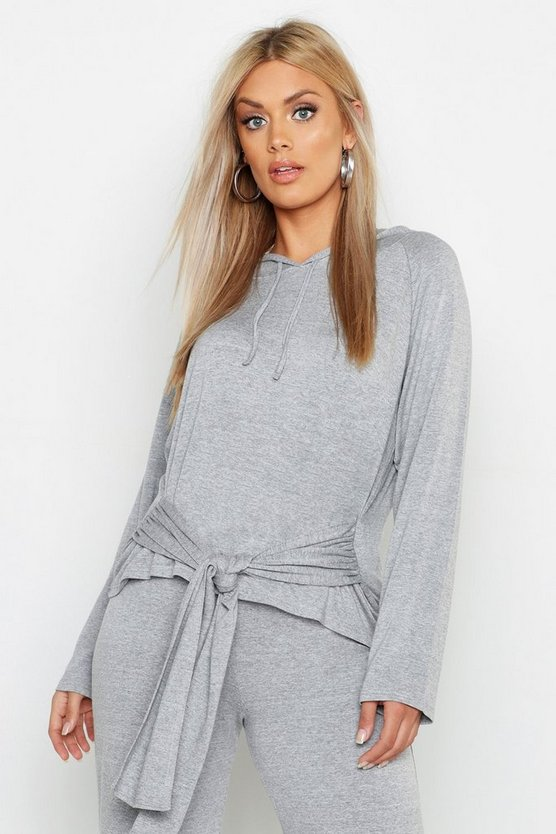 Womens Grey marl Plus Tie Front Hoody