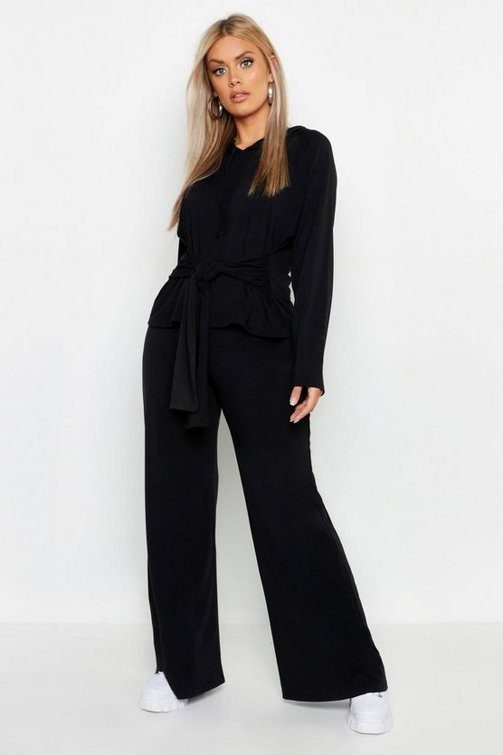 Womens Black Plus Loopback Wide Leg Jogger