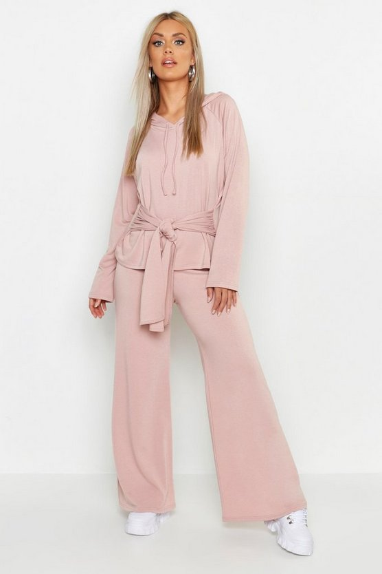 Womens Dusty rose Plus Loopback Wide Leg Jogger