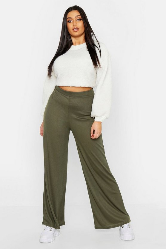 Womens Khaki Plus Rib Wide Leg Jogger