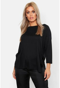 Plus T-shirt girocollo a coste con spacco, Nero, Femmina