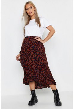 Womens Chocolate Plus Ruffle Leopard Wrap Midi Skirt