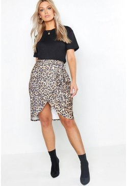 Womens Brown Plus Leopard Print Tie Midi Skirt