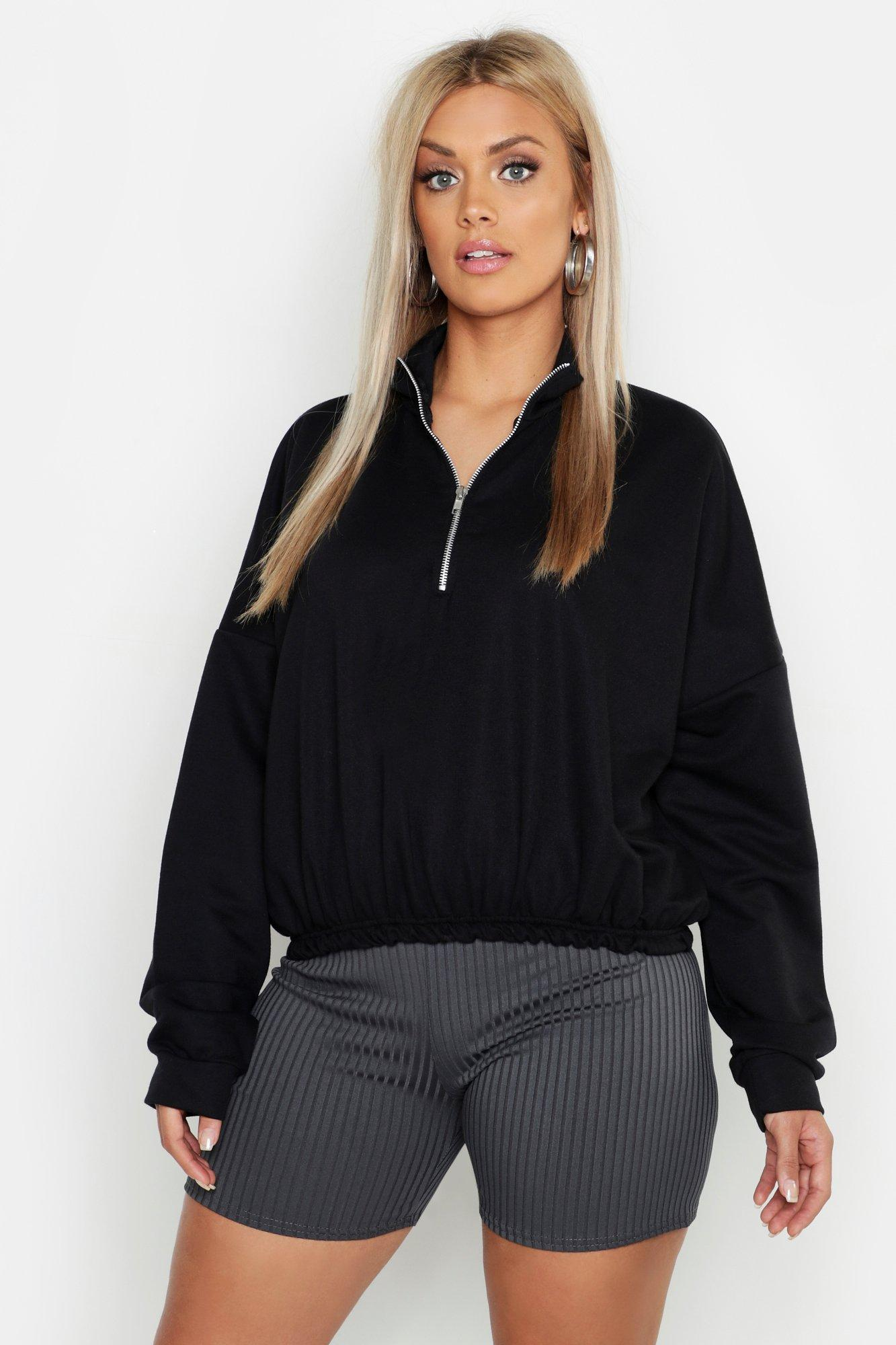 Plus Zip Front Sweat Top
