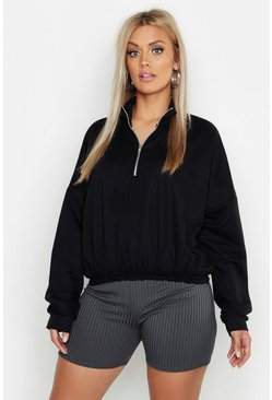Womens Black Plus Zip Front Sweat Top