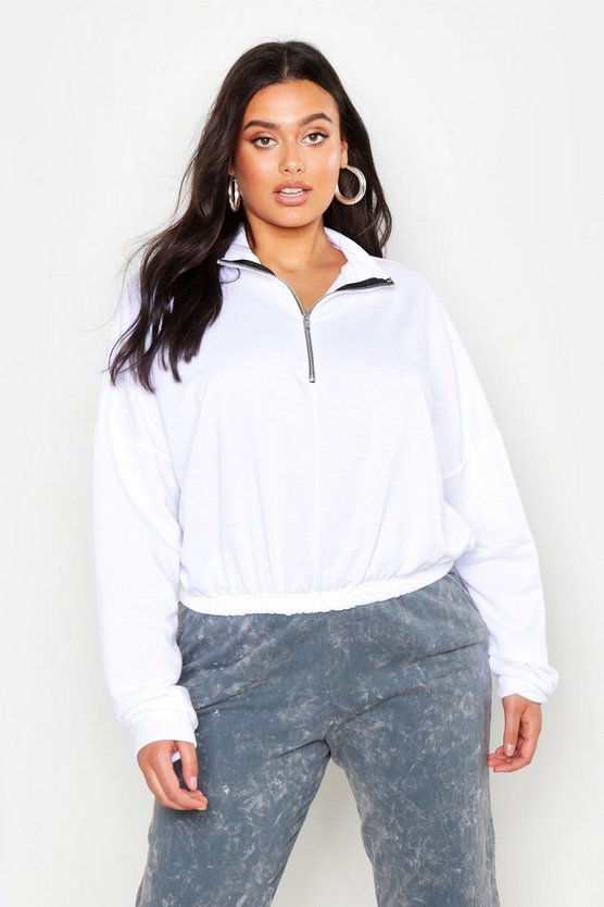 Womens White Plus Zip Front Sweat Top