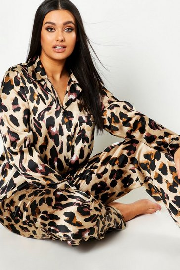 Womens Plus Leopard Print Satin PJ Set