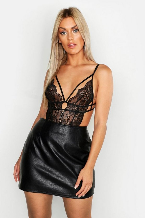 Womens Black Plus Lace Strappy Plunge Bodysuit