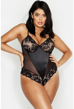 Plus Lace & Satin Panel Bodysuit, Black, Donna