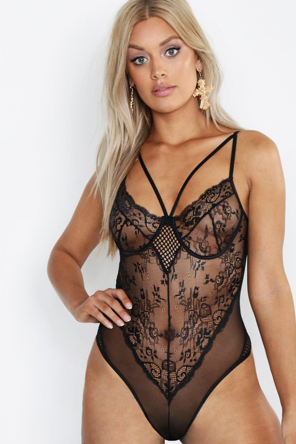 Plus Lace Strappy Bodysuit
