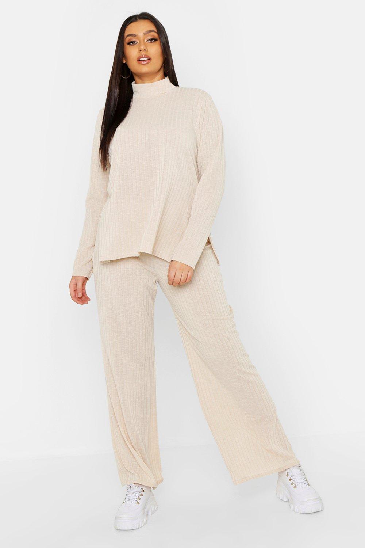 boohoo <Плюс сайз> с высоким вырезом и мягкой ткани в рубчик Комплект для отдыха thumbnail