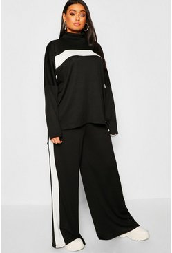 Womens Black Plus Athleisure Roll Neck Lounge Set