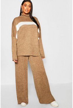 Plus Athleisure Roll Neck Lounge Set, Camel, Donna