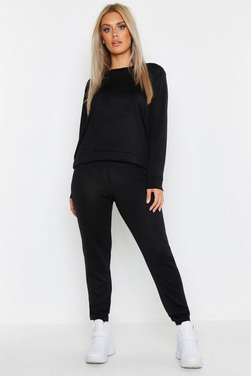 Womens Black Plus V Back Knitted Lounge Set