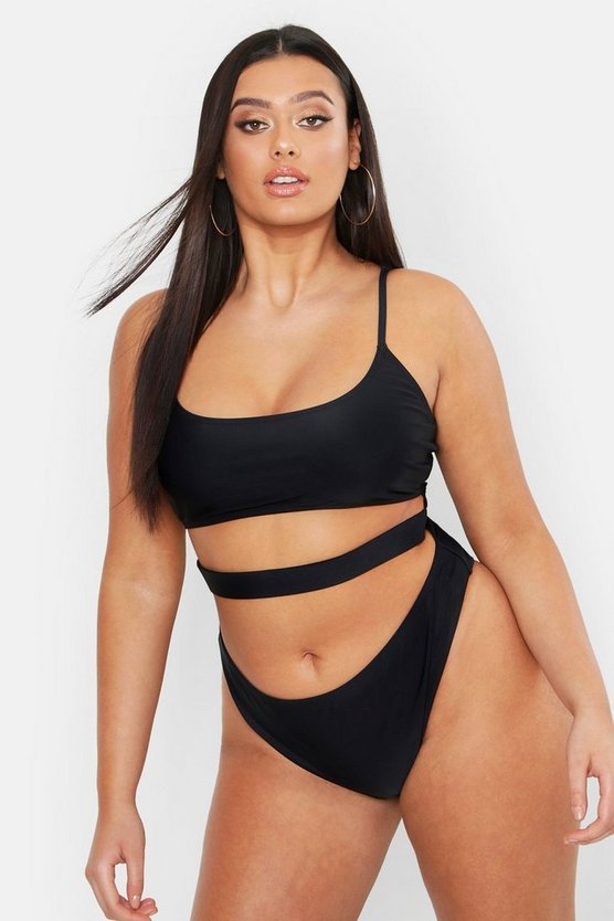 Womens Black Plus Strappy Cut Out High Leg Swimsuit