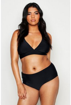 Womens Black Plus High Waist Plunge Bikini