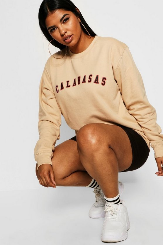 «Плюс сайз» с принтом-слоганом Calabasas Sweat, Nude, Женские