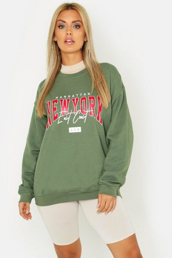 Womens Khaki Plus New York Slogan Sweat