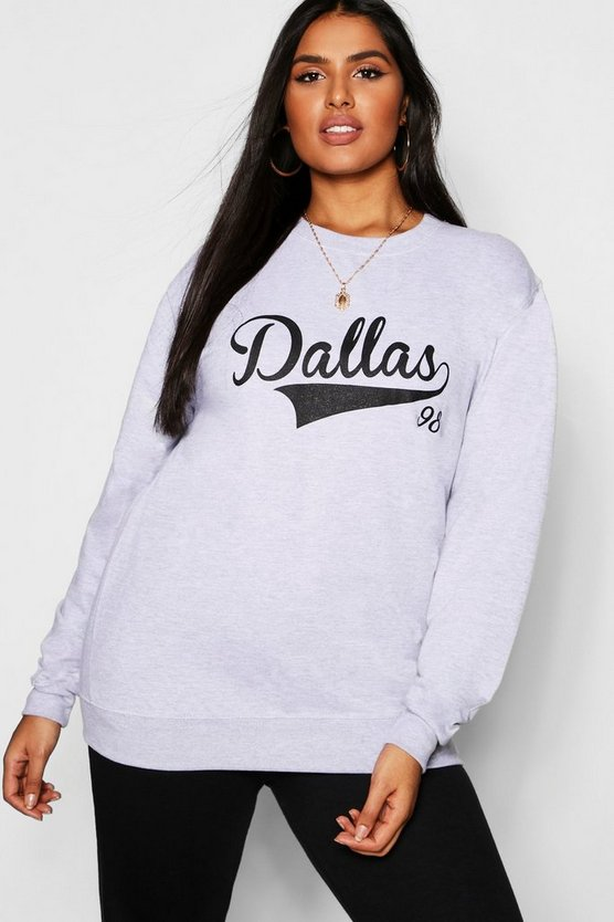 Womens Grey marl Plus Dallas Slogan Sweat