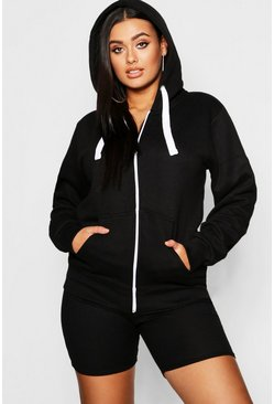 Plus Zip Through Hooded Sweat, Black, Donna