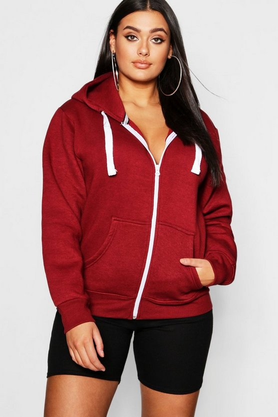 Plus Zip Through Hooded Sweat