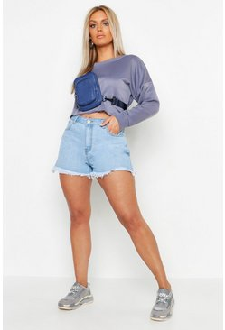 Womens Light blue Plus Panel Detail Raw Edge Short